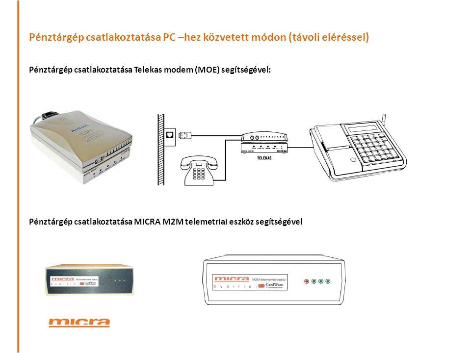 Pénztárgép csatlakoztatása PC –hez közvetett módon (távoli eléréssel) Pénztárgép csatlakoztatása Telekas modem (MOE) segítségével: Pénztárgép csatlakoztatása MICRA M2M telemetriai eszköz segítségével