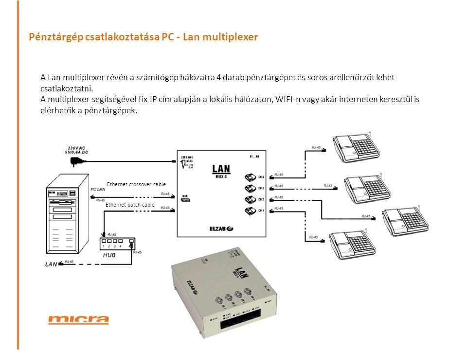 Pénztárgép csatlakoztatása PC - Lan multiplexer Ethernet patch cable Ethernet crossover cable A Lan multiplexer révén a számítógép hálózatra 4 darab pénztárgépet és soros árellenőrzőt lehet csatlakoztatni.