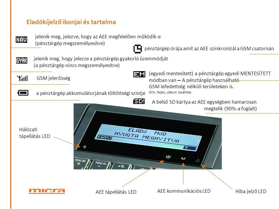 Eladókijelző ikonjai és tartalma Hálózati tápellátás LED AEE tápellátás LED AEE kommunikációs LED jelenik meg, jelezve, hogy az AEE megfelelően működik-e (pénztárgép megszemélyesítve) jelenik meg, hogy jelezze a pénztárgép gyakorló üzemmódját (a pénztárgép nincs megszemélyesítve) GSM jelerősség a pénztárgép akkumulátorjának töltöttségi szintje pénztárgép órája amit az AEE szinkronizál a GSM csatornán A belső SD kártya az AEE egységben hamarosan megtelik (90%-a foglalt) (egyedi mentesített) a pénztárgép egyedi MENTESÍTETT módban van – A pénztárgép használható GSM lefedettség nélküli területeken is.