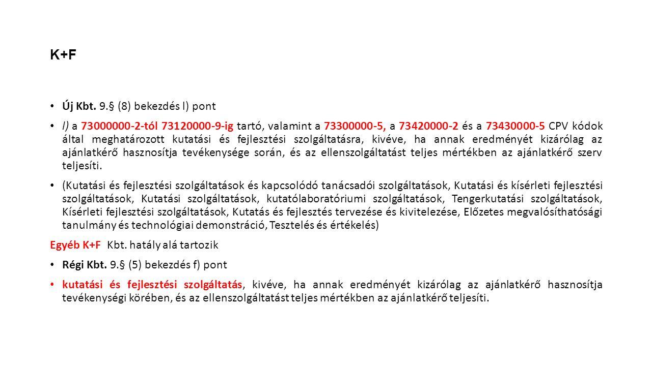 K+F Új Kbt. 9.§ (8) bekezdés l) pont l) a 73000000-2-tól 73120000-9-ig tartó, valamint a 73300000-5, a 73420000-2 és a 73430000-5 CPV kódok által megh