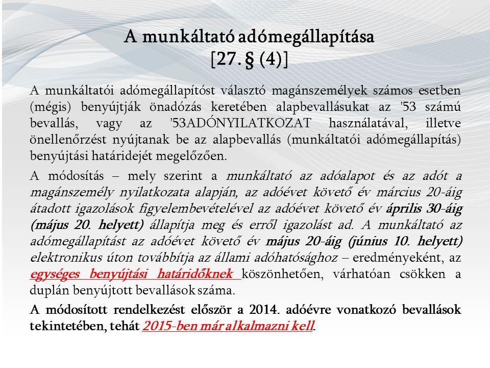 A munkáltató adómegállapítása [27.