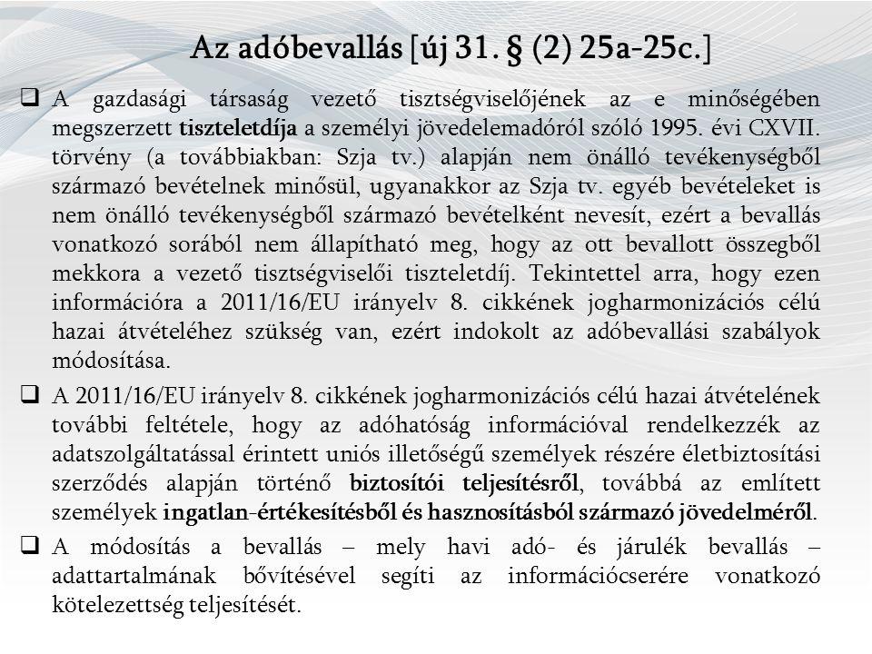 Az adóbevallás [új 31.