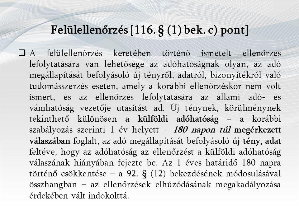 Felülellenőrzés [116. § (1) bek.