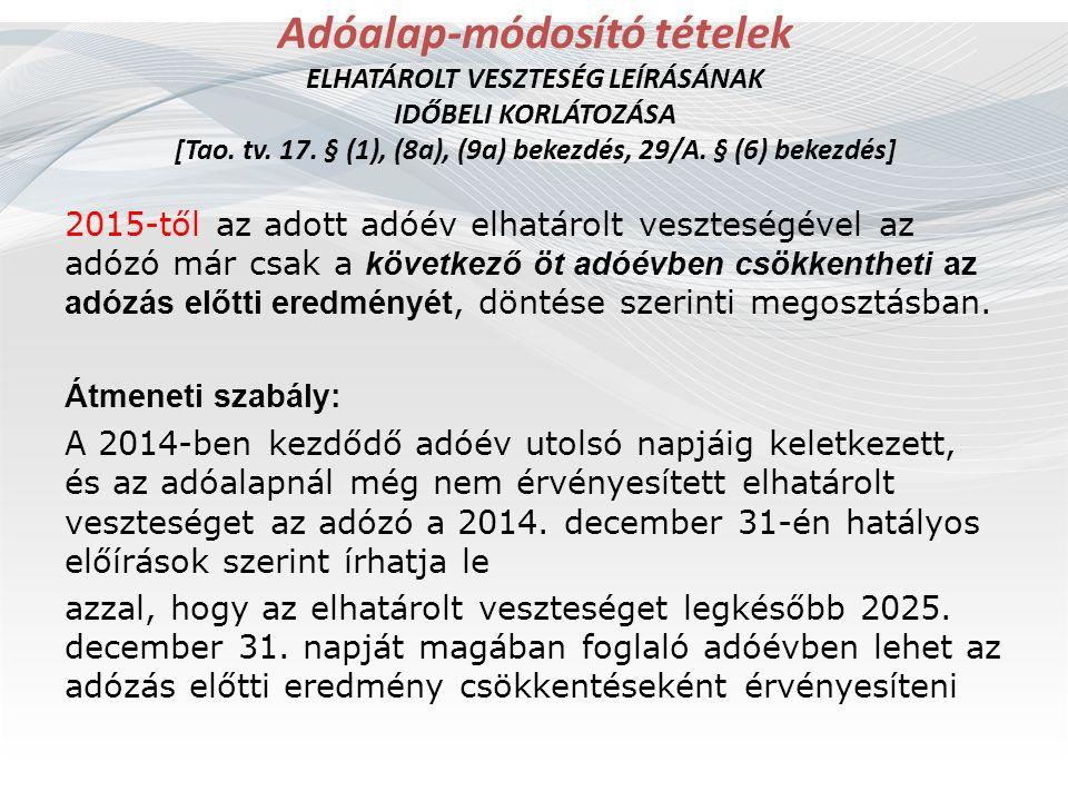 Adóalap-módosító tételek ELHATÁROLT VESZTESÉG LEÍRÁSÁNAK IDŐBELI KORLÁTOZÁSA [Tao. tv. 17. § (1), (8a), (9a) bekezdés, 29/A. § (6) bekezdés] 2015-től