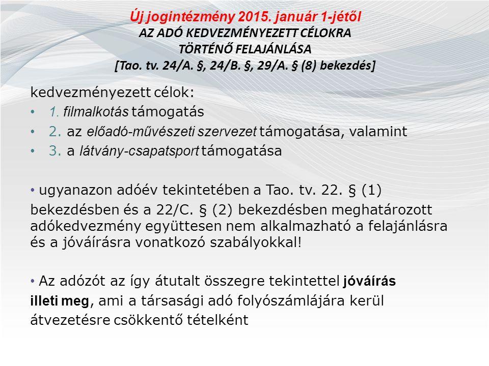 Új jogintézmény 2015. január 1-jétől AZ ADÓ KEDVEZMÉNYEZETT CÉLOKRA TÖRTÉNŐ FELAJÁNLÁSA [Tao. tv. 24/A. §, 24/B. §, 29/A. § (8) bekezdés] kedvezményez