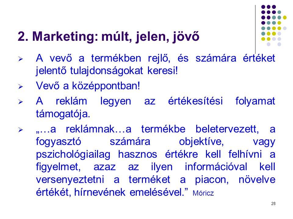 28 2. Marketing: múlt, jelen, jövő  A vevő a termékben rejlő, és számára értéket jelentő tulajdonságokat keresi!  Vevő a középpontban!  A reklám le