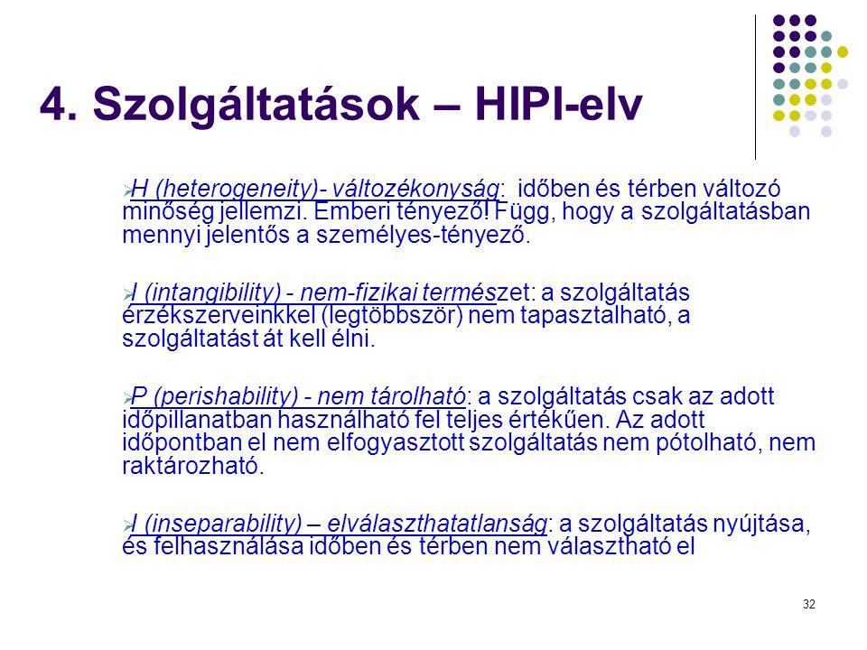32 4. Szolgáltatások – HIPI-elv  H (heterogeneity)- változékonyság: időben és térben változó minőség jellemzi. Emberi tényező! Függ, hogy a szolgálta