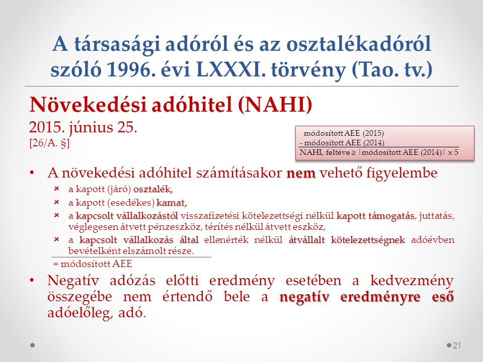 A társasági adóról és az osztalékadóról szóló 1996.