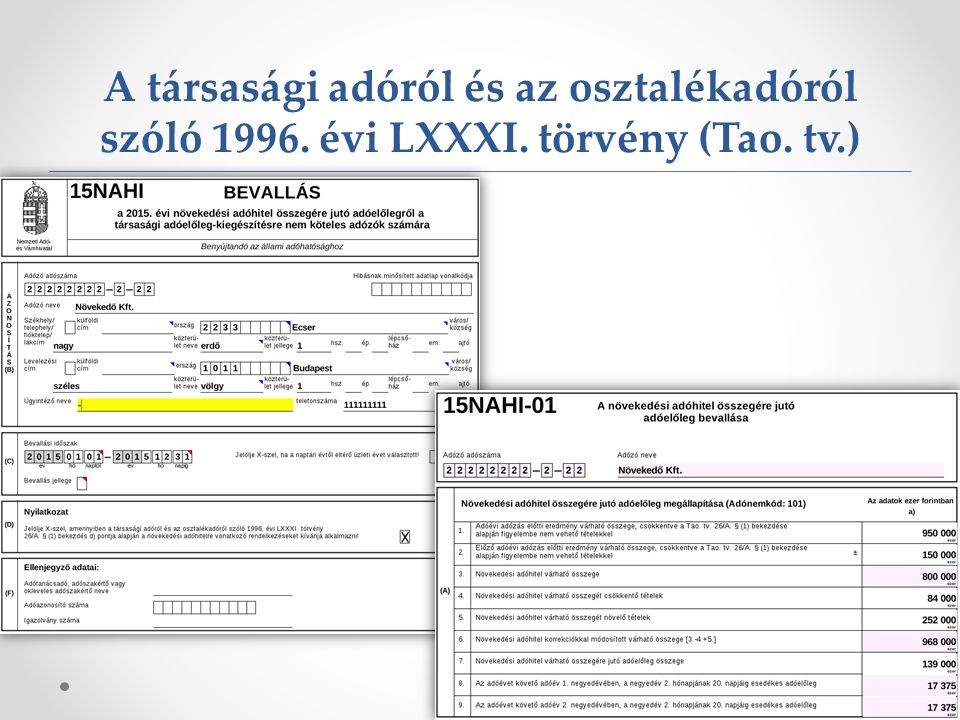 A társasági adóról és az osztalékadóról szóló 1996. évi LXXXI. törvény (Tao. tv.) 25