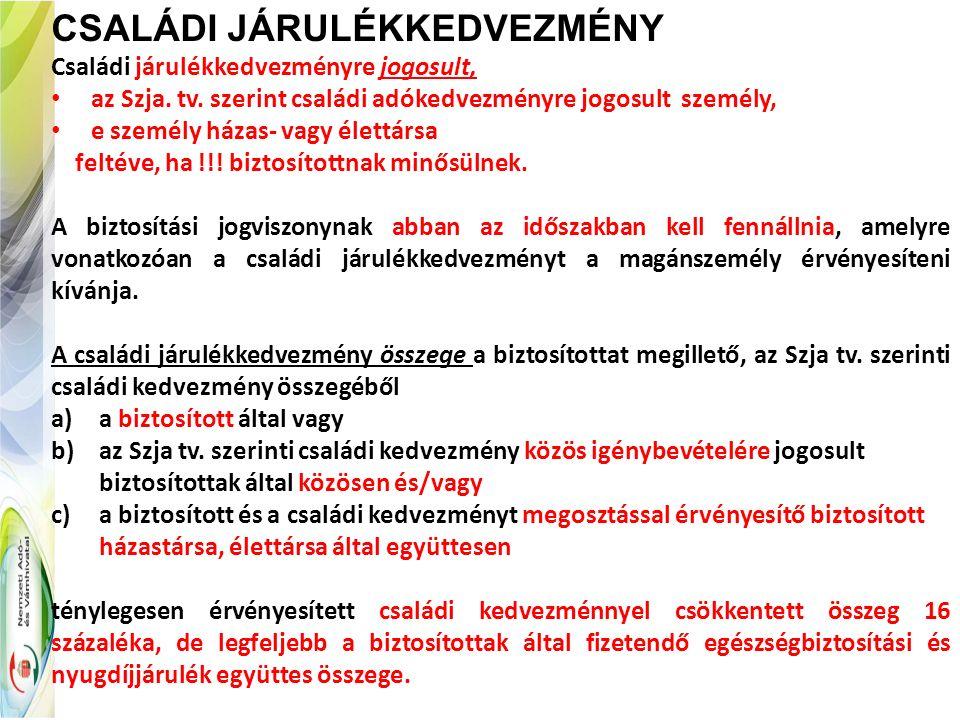 CSALÁDI JÁRULÉKKEDVEZMÉNY Családi járulékkedvezményre jogosult, az Szja. tv. szerint családi adókedvezményre jogosult személy, e személy házas- vagy é