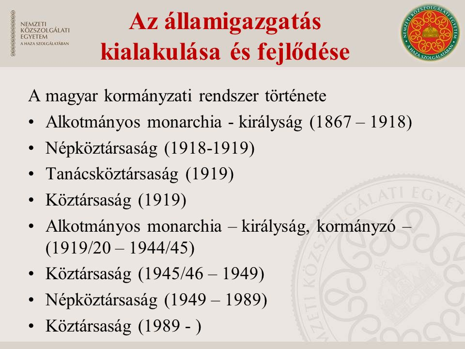 Az államigazgatás kialakulása és fejlődése A magyar kormányzati rendszer története Alkotmányos monarchia - királyság (1867 – 1918) Népköztársaság (1918-1919) Tanácsköztársaság (1919) Köztársaság (1919) Alkotmányos monarchia – királyság, kormányzó – (1919/20 – 1944/45) Köztársaság (1945/46 – 1949) Népköztársaság (1949 – 1989) Köztársaság (1989 - )