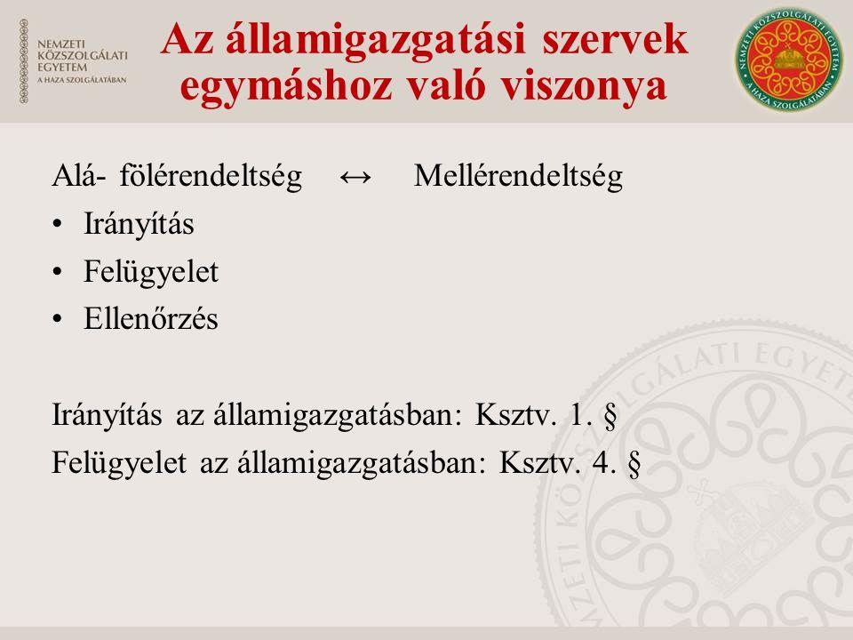 Alá- fölérendeltség ↔ Mellérendeltség Irányítás Felügyelet Ellenőrzés Irányítás az államigazgatásban: Ksztv.