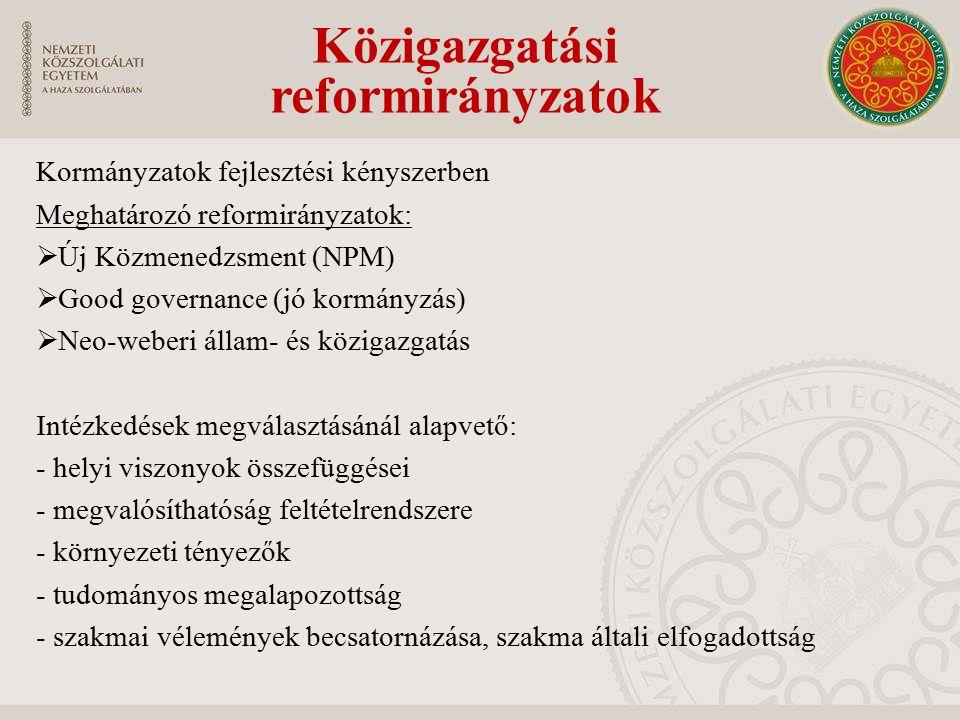Közigazgatási reformirányzatok Kormányzatok fejlesztési kényszerben Meghatározó reformirányzatok:  Új Közmenedzsment (NPM)  Good governance (jó kormányzás)  Neo-weberi állam- és közigazgatás Intézkedések megválasztásánál alapvető: - helyi viszonyok összefüggései - megvalósíthatóság feltételrendszere - környezeti tényezők - tudományos megalapozottság - szakmai vélemények becsatornázása, szakma általi elfogadottság