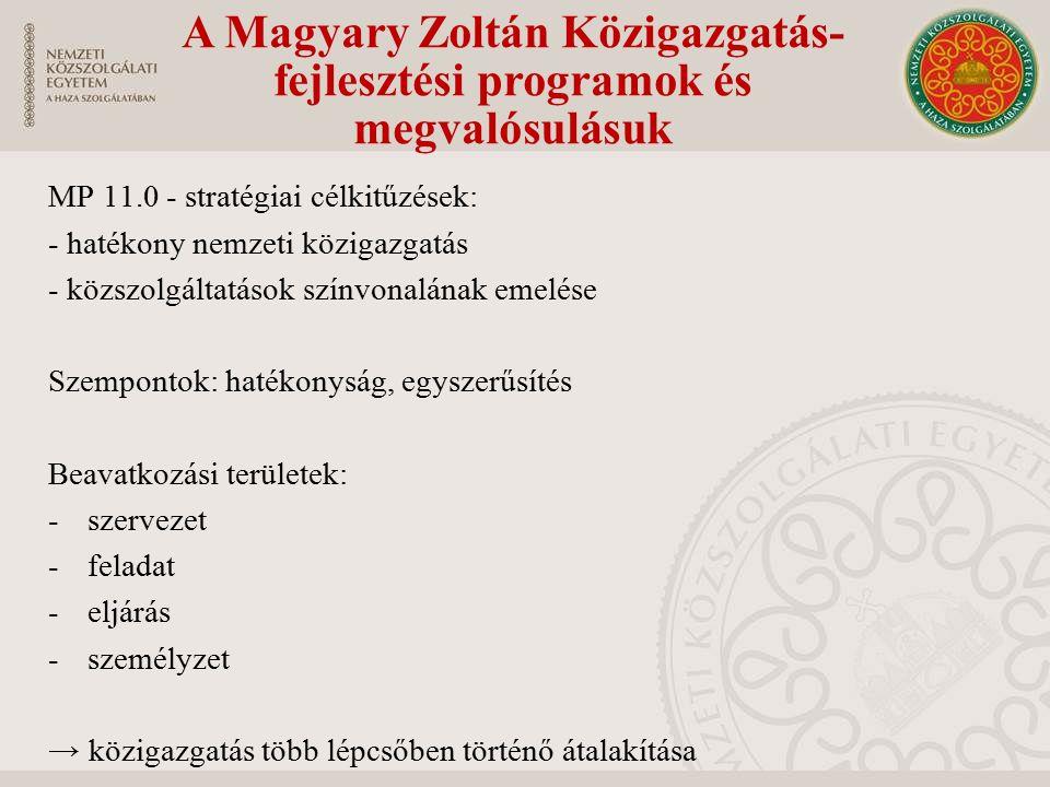 A Magyary Zoltán Közigazgatás- fejlesztési programok és megvalósulásuk MP 11.0 - stratégiai célkitűzések: - hatékony nemzeti közigazgatás - közszolgáltatások színvonalának emelése Szempontok: hatékonyság, egyszerűsítés Beavatkozási területek: -szervezet -feladat -eljárás -személyzet → közigazgatás több lépcsőben történő átalakítása