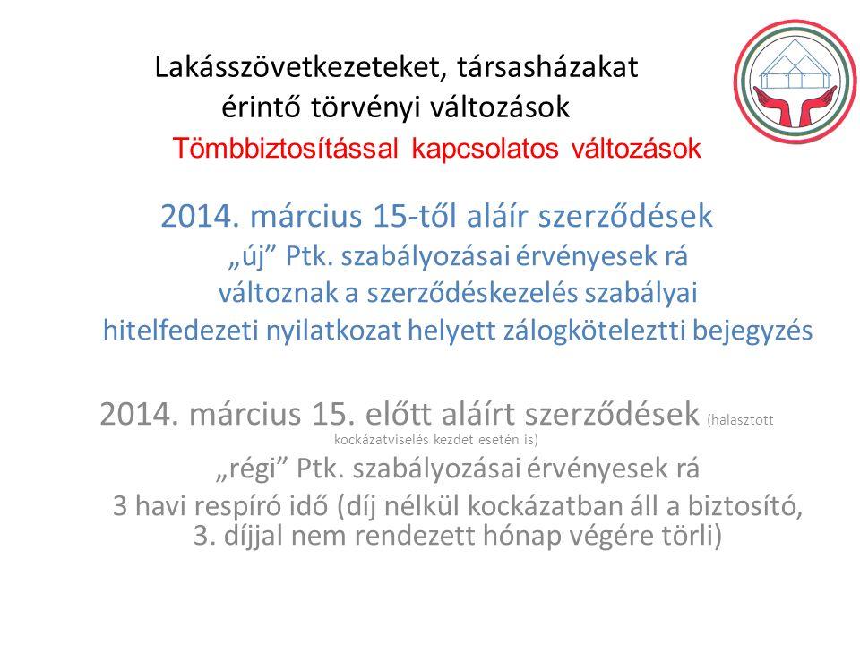 Lakásszövetkezeteket, társasházakat érintő törvényi változások Tömbbiztosítással kapcsolatos változások 2014.