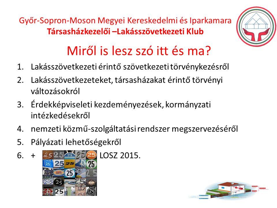 Győr-Sopron-Moson Megyei Kereskedelmi és Iparkamara Társasházkezelői –Lakásszövetkezeti Klub Miről is lesz szó itt és ma.
