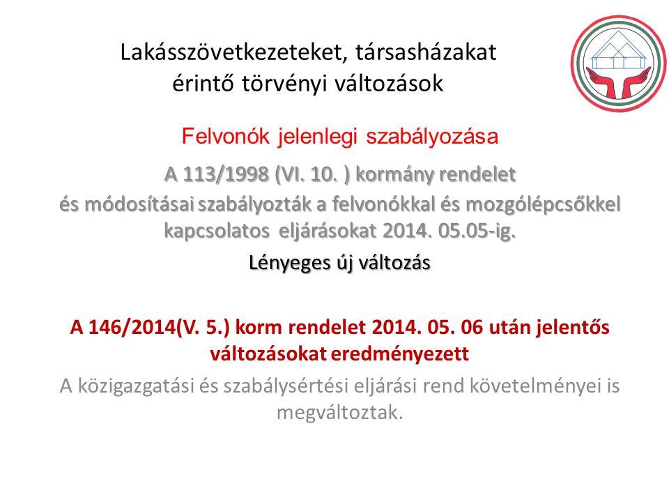 Lakásszövetkezeteket, társasházakat érintő törvényi változások A 113/1998 (VI.