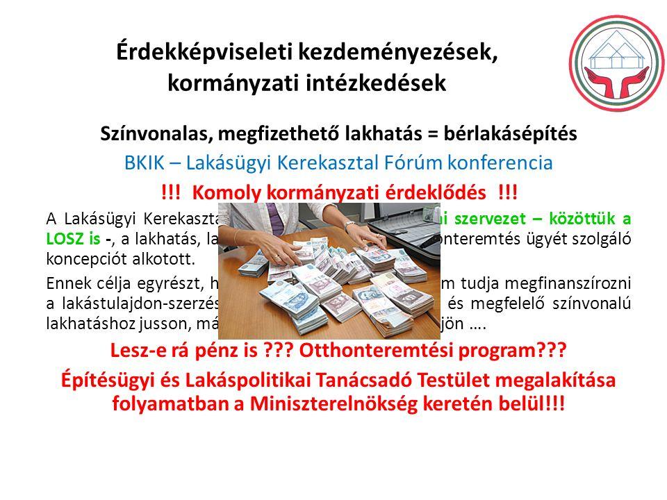 Érdekképviseleti kezdeményezések, kormányzati intézkedések Színvonalas, megfizethető lakhatás = bérlakásépítés BKIK – Lakásügyi Kerekasztal Fórúm konferencia !!.