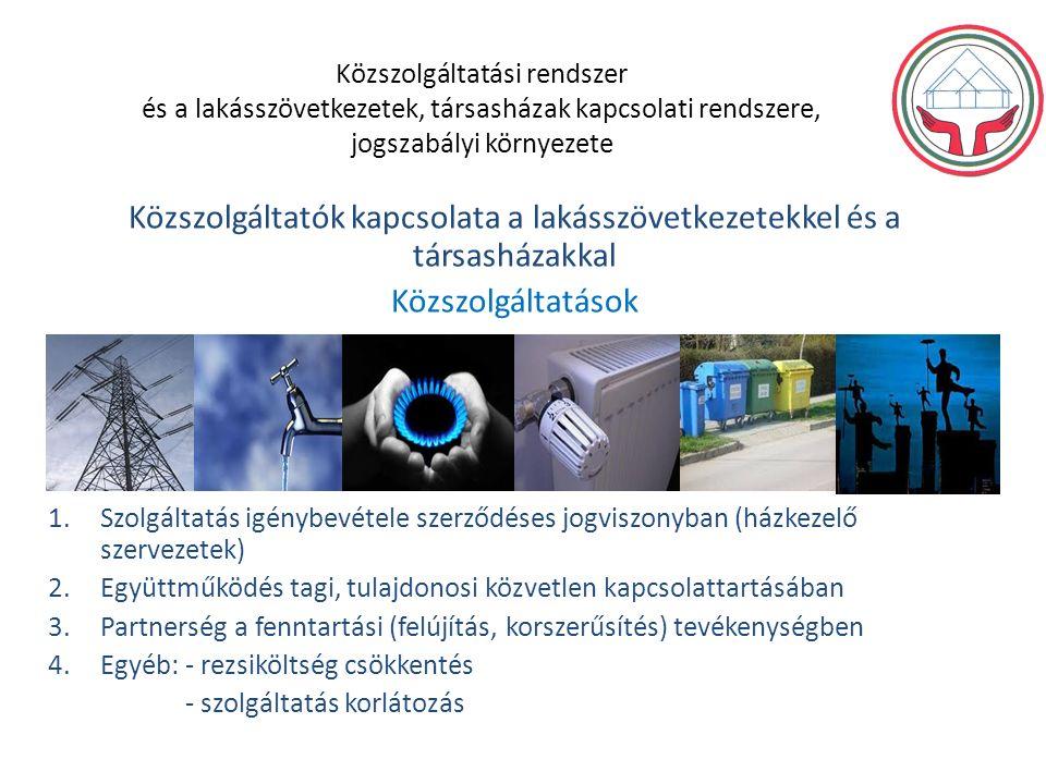Közszolgáltatási rendszer és a lakásszövetkezetek, társasházak kapcsolati rendszere, jogszabályi környezete Közszolgáltatók kapcsolata a lakásszövetkezetekkel és a társasházakkal Közszolgáltatások 1.Szolgáltatás igénybevétele szerződéses jogviszonyban (házkezelő szervezetek) 2.Együttműködés tagi, tulajdonosi közvetlen kapcsolattartásában 3.Partnerség a fenntartási (felújítás, korszerűsítés) tevékenységben 4.Egyéb: - rezsiköltség csökkentés - szolgáltatás korlátozás