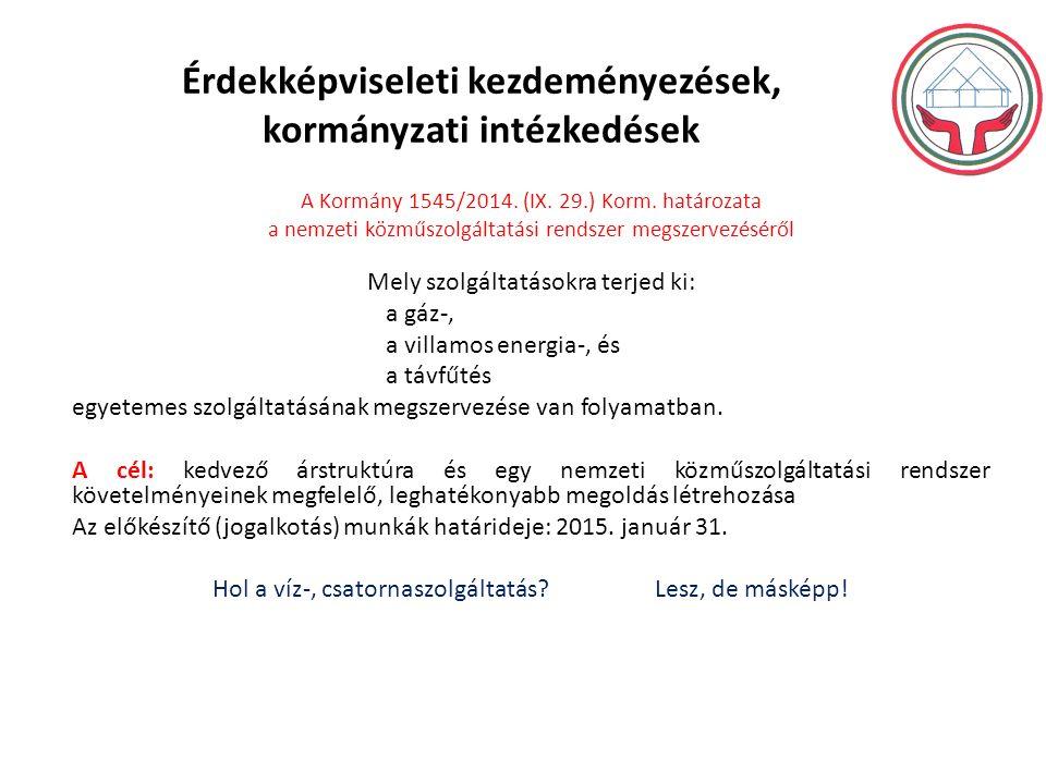 Érdekképviseleti kezdeményezések, kormányzati intézkedések A Kormány 1545/2014.