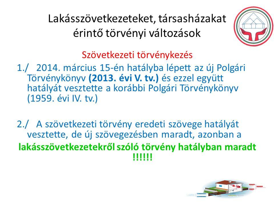 Lakásszövetkezeteket, társasházakat érintő törvényi változások Szövetkezeti törvénykezés 1./ 2014.