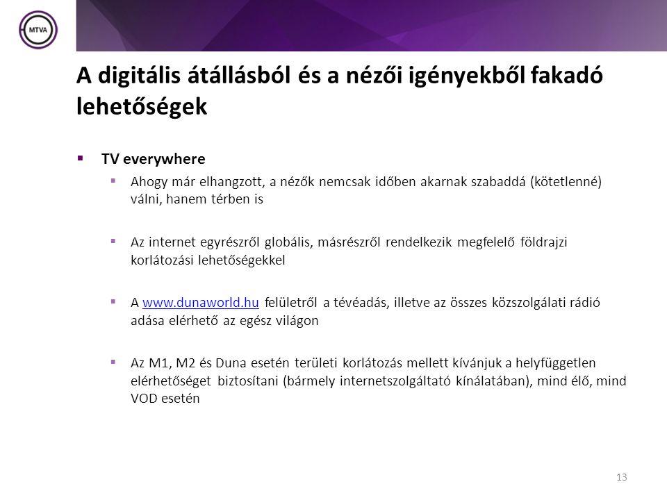 A digitális átállásból és a nézői igényekből fakadó lehetőségek  TV everywhere  Ahogy már elhangzott, a nézők nemcsak időben akarnak szabaddá (kötetlenné) válni, hanem térben is  Az internet egyrészről globális, másrészről rendelkezik megfelelő földrajzi korlátozási lehetőségekkel  A www.dunaworld.hu felületről a tévéadás, illetve az összes közszolgálati rádió adása elérhető az egész világonwww.dunaworld.hu  Az M1, M2 és Duna esetén területi korlátozás mellett kívánjuk a helyfüggetlen elérhetőséget biztosítani (bármely internetszolgáltató kínálatában), mind élő, mind VOD esetén 13