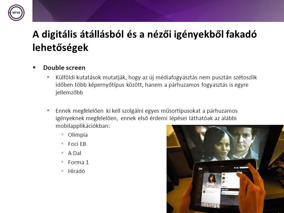 A digitális átállásból és a nézői igényekből fakadó lehetőségek  Double screen  Külföldi kutatások mutatják, hogy az új médiafogyasztás nem pusztán szétoszlik időben több képernyőtípus között, hanem a párhuzamos fogyasztás is egyre jellemzőbb  Ennek megfelelően ki kell szolgálni egyes műsortípusokat a párhuzamos igényeknek megfelelően, ennek első érdemi lépései láthatóak az alábbi mobilapplikációkban:  Olimpia  Foci EB  A Dal  Forma 1  Híradó 14
