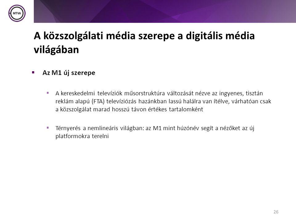 A közszolgálati média szerepe a digitális média világában  Az M1 új szerepe  A kereskedelmi televíziók műsorstruktúra változását nézve az ingyenes, tisztán reklám alapú (FTA) televíziózás hazánkban lassú halálra van ítélve, várhatóan csak a közszolgálat marad hosszú távon értékes tartalomként  Térnyerés a nemlineáris világban: az M1 mint húzónév segít a nézőket az új platformokra terelni 26