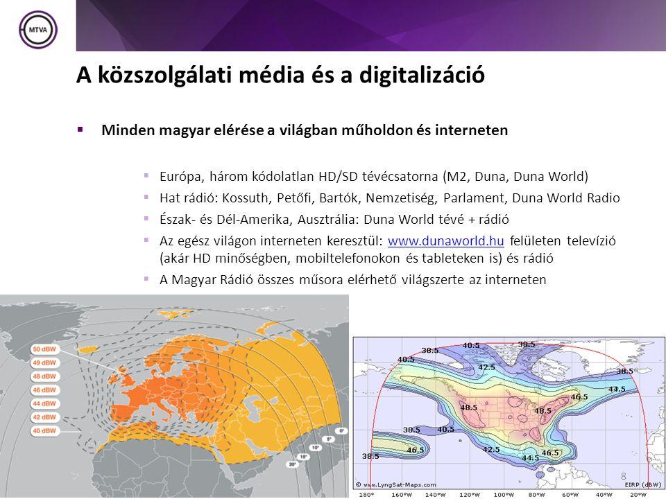  Minden magyar elérése a világban műholdon és interneten  Európa, három kódolatlan HD/SD tévécsatorna (M2, Duna, Duna World)  Hat rádió: Kossuth, Petőfi, Bartók, Nemzetiség, Parlament, Duna World Radio  Észak- és Dél-Amerika, Ausztrália: Duna World tévé + rádió  Az egész világon interneten keresztül: www.dunaworld.hu felületen televízió (akár HD minőségben, mobiltelefonokon és tableteken is) és rádiówww.dunaworld.hu  A Magyar Rádió összes műsora elérhető világszerte az interneten 8