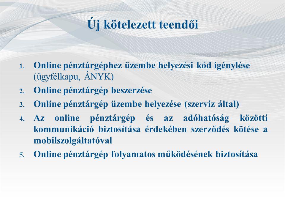 Új kötelezett teendői 1.Online pénztárgéphez üzembe helyezési kód igénylése (ügyfélkapu, ÁNYK) 2.