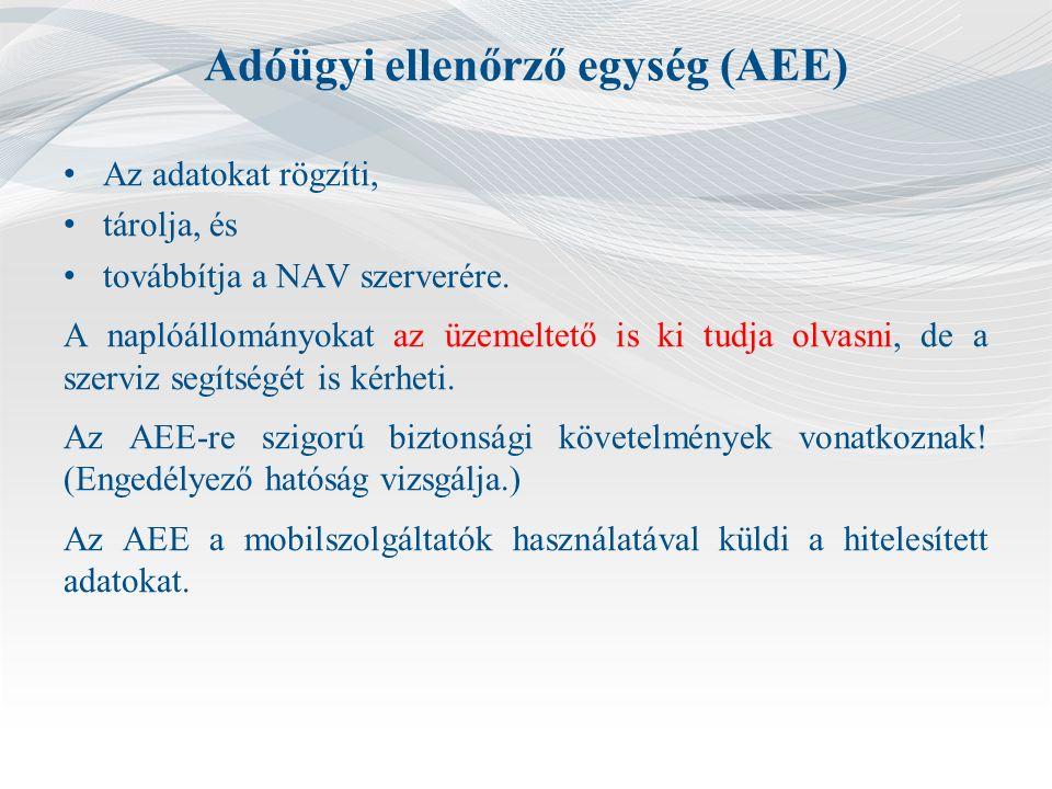 Adóügyi ellenőrző egység (AEE) Az adatokat rögzíti, tárolja, és továbbítja a NAV szerverére.