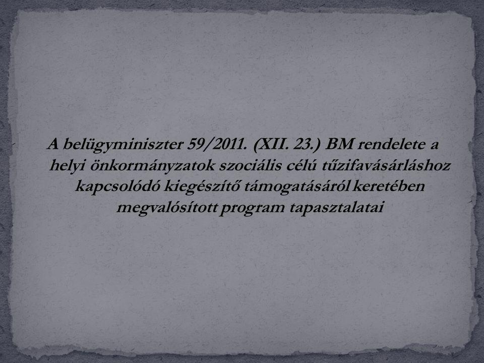 A belügyminiszter 59/2011. (XII. 23.) BM rendelete a helyi önkormányzatok szociális célú tűzifavásárláshoz kapcsolódó kiegészítő támogatásáról keretéb