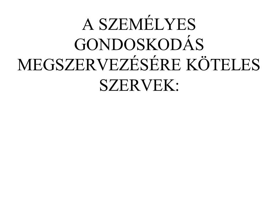 A SZEMÉLYES GONDOSKODÁS MEGSZERVEZÉSÉRE KÖTELES SZERVEK: