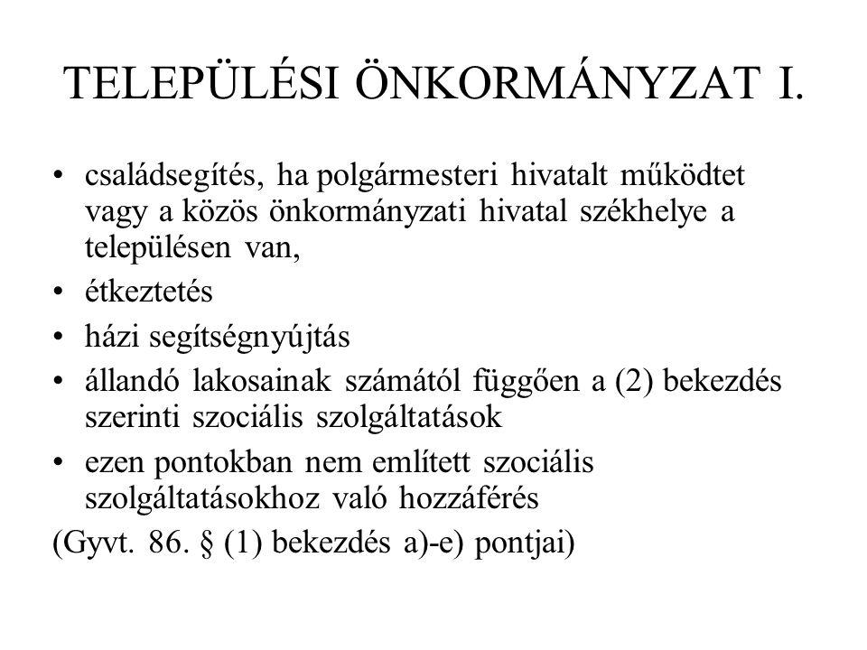 TELEPÜLÉSI ÖNKORMÁNYZAT I.