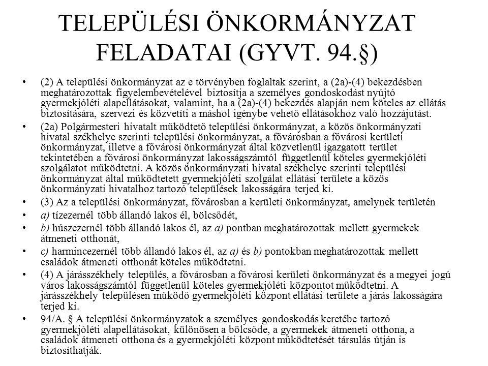 TELEPÜLÉSI ÖNKORMÁNYZAT FELADATAI (GYVT. 94.§) (2) A települési önkormányzat az e törvényben foglaltak szerint, a (2a)-(4) bekezdésben meghatározottak