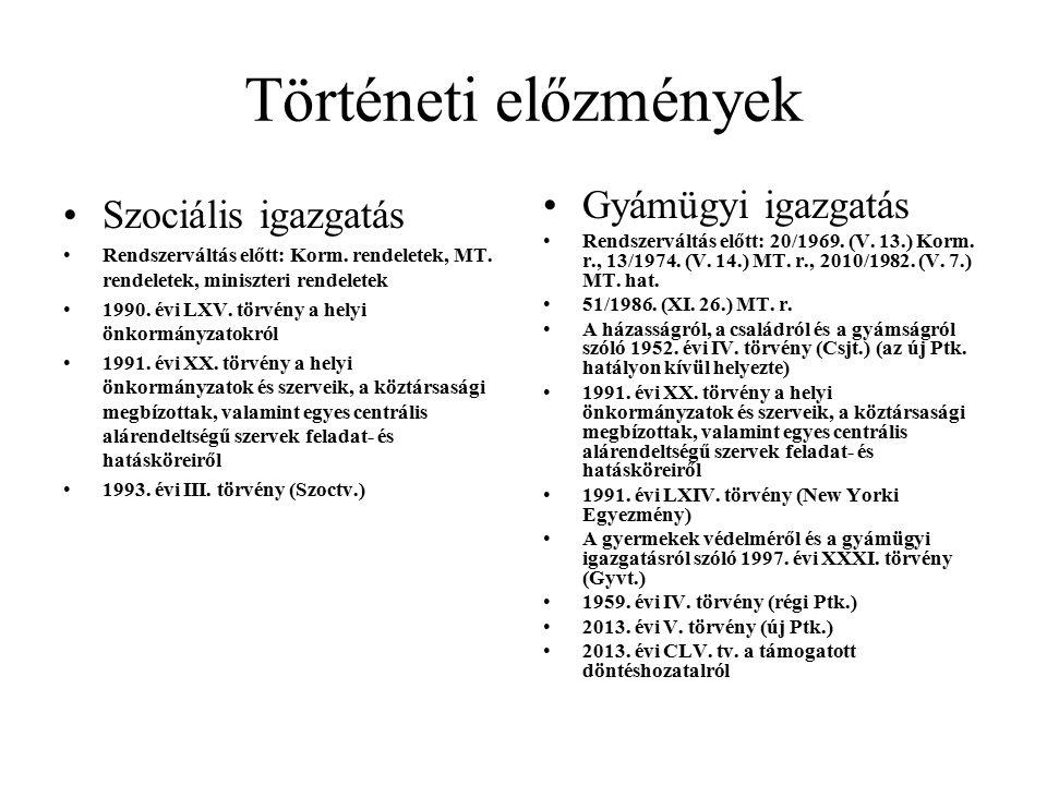 Történeti előzmények Szociális igazgatás Rendszerváltás előtt: Korm.