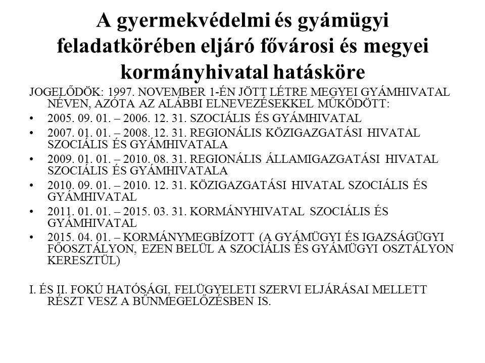 A gyermekvédelmi és gyámügyi feladatkörében eljáró fővárosi és megyei kormányhivatal hatásköre JOGELŐDÖK: 1997. NOVEMBER 1-ÉN JÖTT LÉTRE MEGYEI GYÁMHI