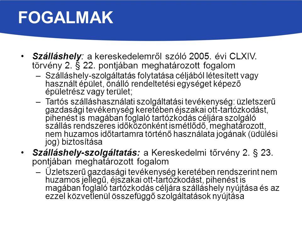FOGALMAK Szálláshely: a kereskedelemről szóló 2005.