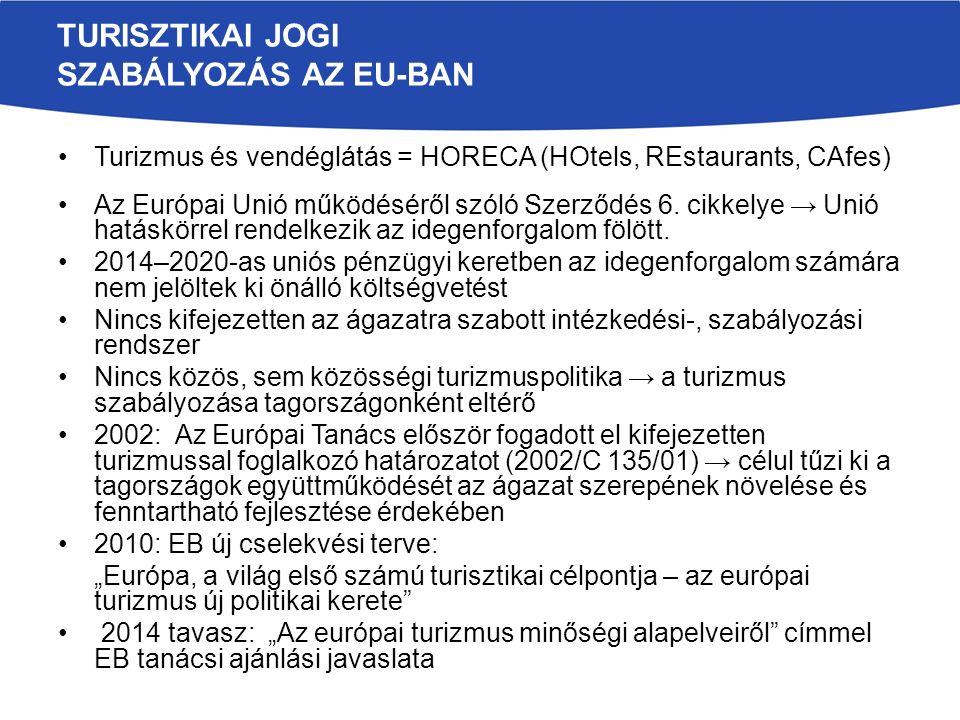 TURISZTIKAI JOGI SZABÁLYOZÁS AZ EU-BAN Turizmus és vendéglátás = HORECA (HOtels, REstaurants, CAfes) Az Európai Unió működéséről szóló Szerződés 6.