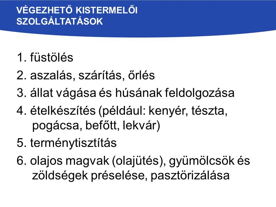 VÉGEZHETŐ KISTERMELŐI SZOLGÁLTATÁSOK 1. füstölés 2.