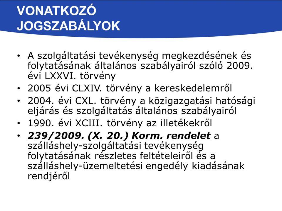 VONATKOZÓ JOGSZABÁLYOK A szolgáltatási tevékenység megkezdésének és folytatásának általános szabályairól szóló 2009.