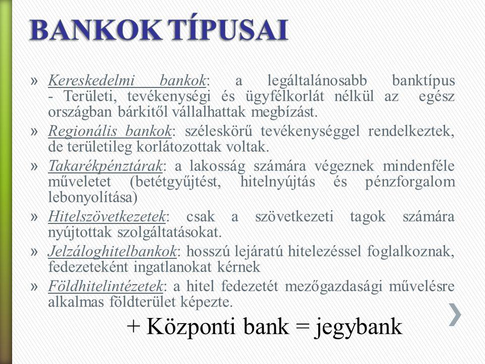 » Specializált vagy kettéosztott bankrendszer: - bankok egyik csoportja csak lakossági ügyletekkel, rövid távú finanszírozással foglalkozik (retail bank) - bankok másik része csak hosszú távú befektetésekkel, értékpapír-ügyletekkel foglalkozhat (angolszász országokban, főként USA-ban jellemző) - tevékenységi körök elkülönítésének oka: lakosságot terhelő kockázatok csökkentése » Univerzális bankrendszer: - minden bank mindenféle banki tevékenység és szolgáltatás végzésére, befektetési tevékenységre is jogosult (európai országokban jellemző, főleg Németország)