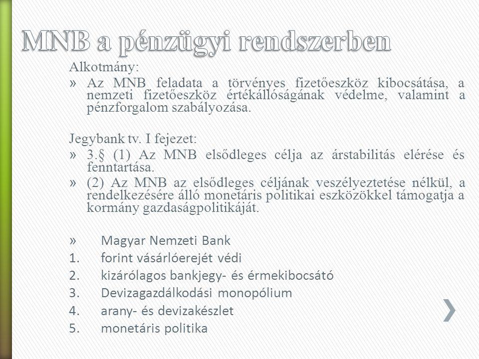 1987-től kétszintű bankrendszer: -Jegybank: Magyar Nemzeti Bank - Pénzügyi intézmények: a) hitelintézetek: b) pénzügyi vállalkozások (JT 50mft): betét