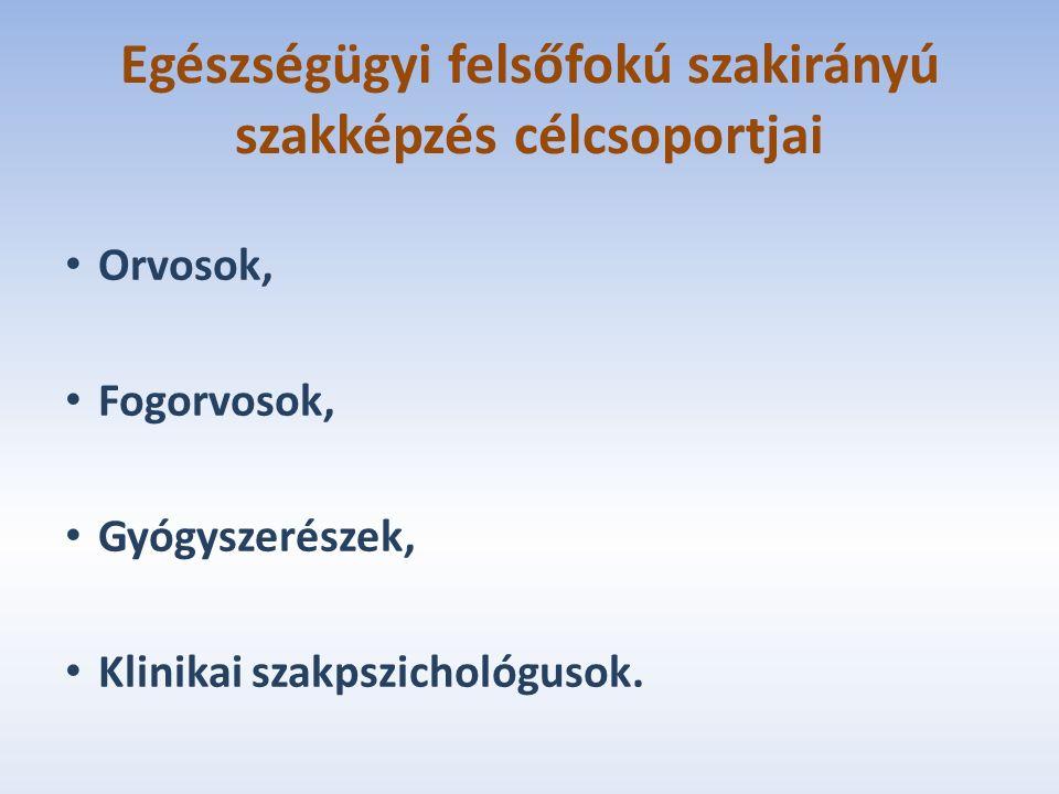Egészségügyi felsőfokú szakirányú szakképzés célcsoportjai Orvosok, Fogorvosok, Gyógyszerészek, Klinikai szakpszichológusok.