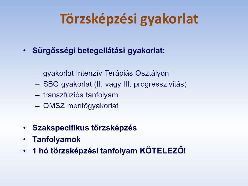 Törzsképzési gyakorlat Sürgősségi betegellátási gyakorlat: –gyakorlat Intenzív Terápiás Osztályon –SBO gyakorlat (II.
