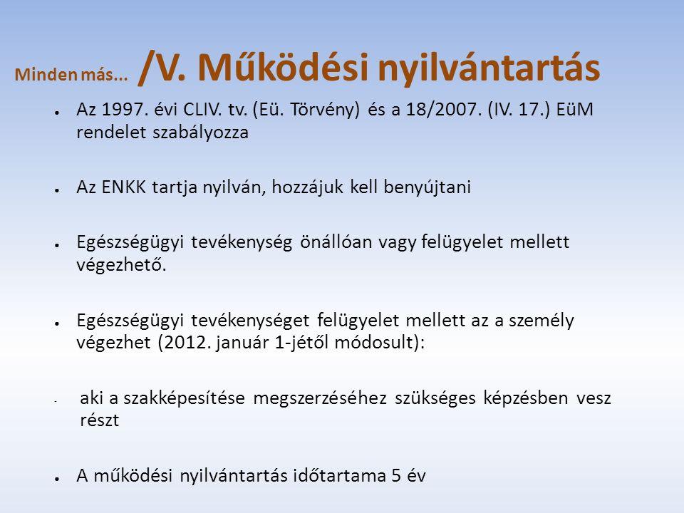 Minden más... /V. Működési nyilvántartás ● Az 1997. évi CLIV. tv. (Eü. Törvény) és a 18/2007. (IV. 17.) EüM rendelet szabályozza ● Az ENKK tartja nyil