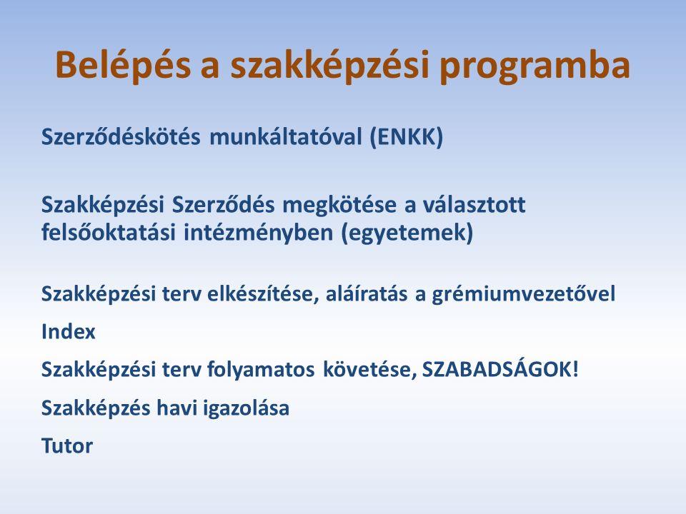 Belépés a szakképzési programba Szerződéskötés munkáltatóval (ENKK) Szakképzési Szerződés megkötése a választott felsőoktatási intézményben (egyetemek