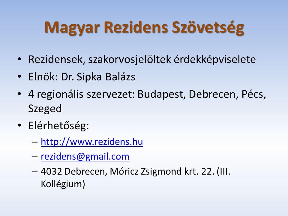 Magyar Rezidens Szövetség Rezidensek, szakorvosjelöltek érdekképviselete Elnök: Dr.