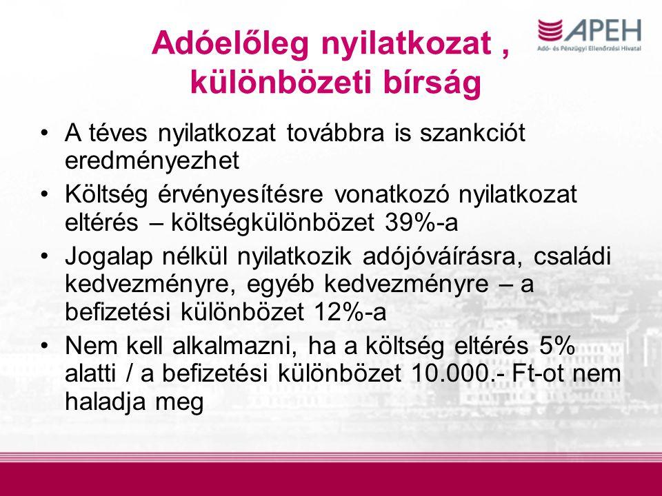 Adóelőleg nyilatkozat, különbözeti bírság A téves nyilatkozat továbbra is szankciót eredményezhet Költség érvényesítésre vonatkozó nyilatkozat eltérés – költségkülönbözet 39%-a Jogalap nélkül nyilatkozik adójóváírásra, családi kedvezményre, egyéb kedvezményre – a befizetési különbözet 12%-a Nem kell alkalmazni, ha a költség eltérés 5% alatti / a befizetési különbözet 10.000.- Ft-ot nem haladja meg