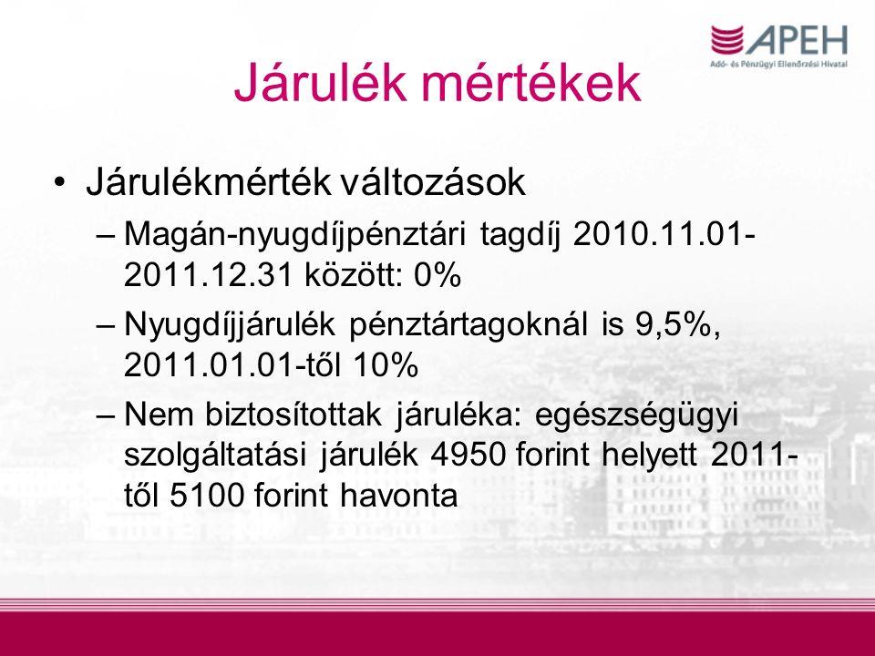 Járulék mértékek Járulékmérték változások –Magán-nyugdíjpénztári tagdíj 2010.11.01- 2011.12.31 között: 0% –Nyugdíjjárulék pénztártagoknál is 9,5%, 2011.01.01-től 10% –Nem biztosítottak járuléka: egészségügyi szolgáltatási járulék 4950 forint helyett 2011- től 5100 forint havonta